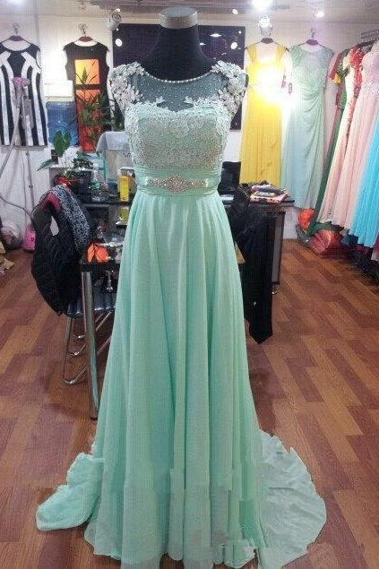 Mint Green Prom Dresses,2016 Evening Dresses,New Fashion Prom Gowns,Elegant Prom Dress,Lace Prom Dresses,Chiffon Evening Gowns,Modest Formal Dress