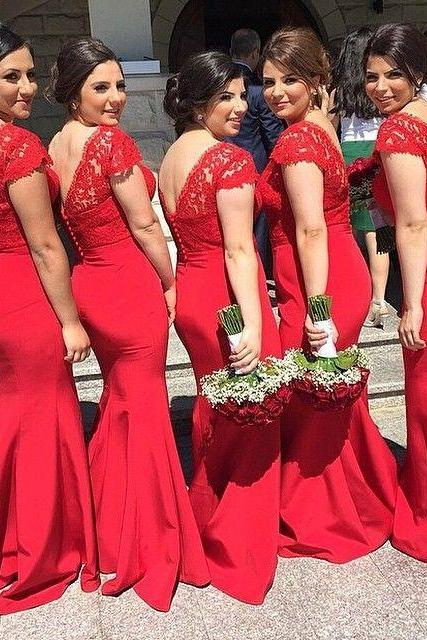 Lace Bridesmaid Dress,Long Bridesmaid Gown,V neck Bridesmaid Gowns,Red Bridesmaid Dresses,Cheap Mermaid Bridesmaid Gowns,Vintage Brides Dress,Spring Bridesmaid Gowns With Cap Sleeves