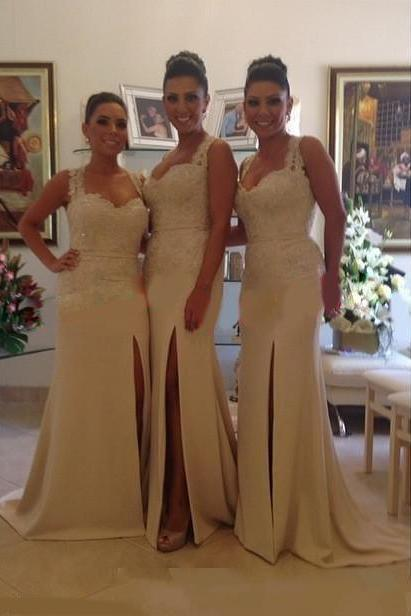 Ivory Bridesmaid Gown,Pretty Prom Dresses,Slit Wedding Gown,Mermaid Bridesmaid Dress,Lace Bridesmaid Dresses,Straps Bridesmaid Gowns,Slit Bridesmaid Gown