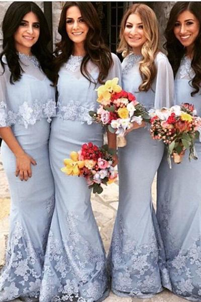 Custom Made Light Blue Chiffon Mermaid Bridesmaid Dress with Lace Applique and Cape