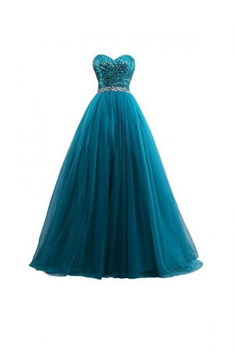 Prom Dresses,Evening Dress,Sexy Tulle Sequin Ball Gown Prom Dresses, Evening Gown