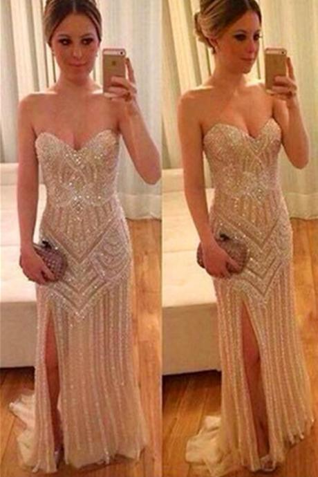 Prom Dresses,Evening Dress,Pretty Sequin Shiny Prom Dresses,Sparkly Prom Gowns,Sweetheart Beading Prom Dresses,Modest Evening Gowns,Front Split Prom Dress