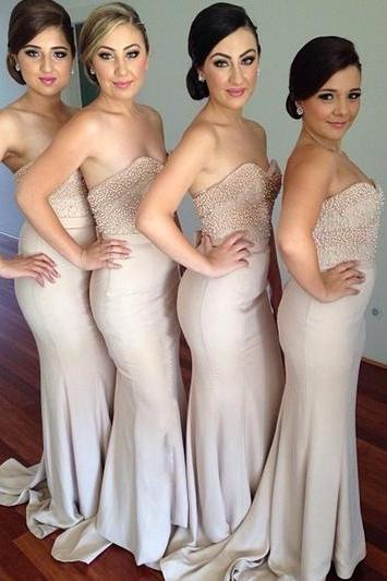 Custom Made Beige Sweetheart Neckline Long Mermaid Bridesmaid Dress with Pearl Beading