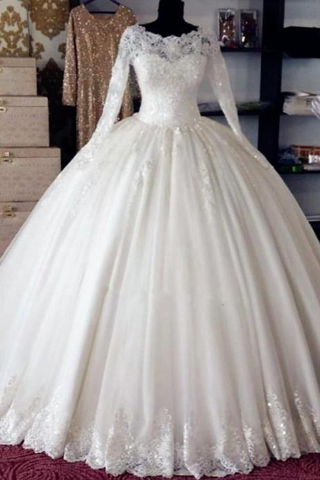 Round Neck Lace Appliqués Ball Gown Wedding Dress with Long Sleeves