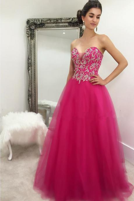 Prom Dresses,Evening Dress,New Arrival Prom Dress,Modest Prom Dress,crystal beaded sweetheart long fuchsia ball gowns prom dresses 2017 quinceanera gowns