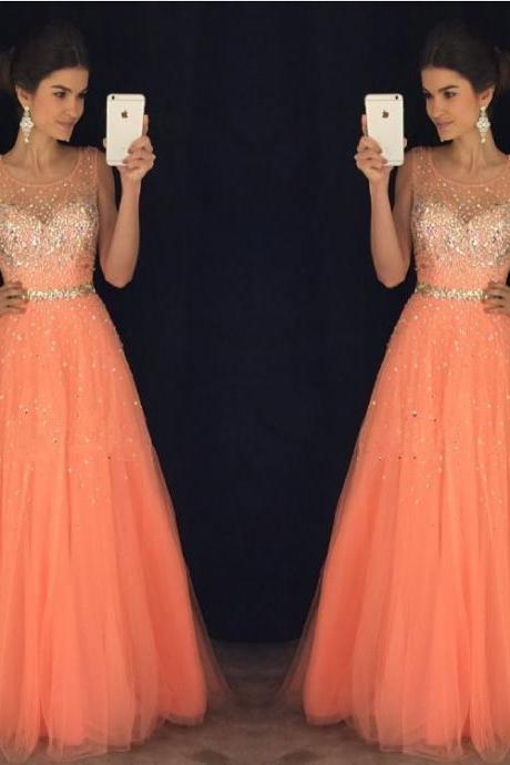 Prom Dresses,Evening Dress,New Arrival Prom Dress,Modest Prom Dress,coral prom dresses,cap sleeves prom gowns,long evening dress,beaded prom dresses 2017
