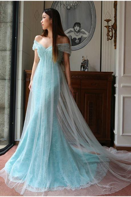 Prom Dresses,Evening Dress,New Arrival Prom Dress,Modest Prom Dress,Sweetheart Light Blue Prom Dresses,Lace Prom Dresses,Tulle Evening Dresses,Off the Shoulder Prom Dresses,Lace Wedding Dress
