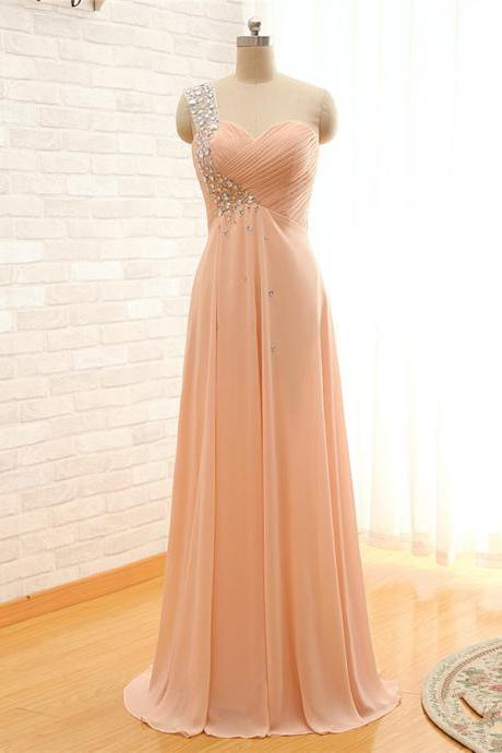 Blush Pink One-Shoulder Beaded Ruched Chiffon Floor-Length Prom Dress, Evening Dress
