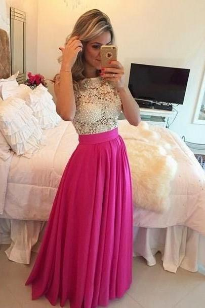 Prom Dresses,Evening Dress,Elegant Lace Prom Dresses,Pink Chiffon White Lace Formal Evening Gowns
