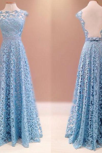 Prom Dresses,Evening Dress,Lace Prom Dresses,Blue Prom Dress,Modest Prom Gown,A Line Prom Gown,Evening Dress,Backless Evening Gowns,Party Gowns