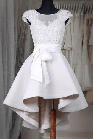 Prom Dresses,New Arrival Prom Dress,Sexy Prom Dress,Prom Dress,Simple white lace short prom dress,High low homecoming dresses,homecoming dresses