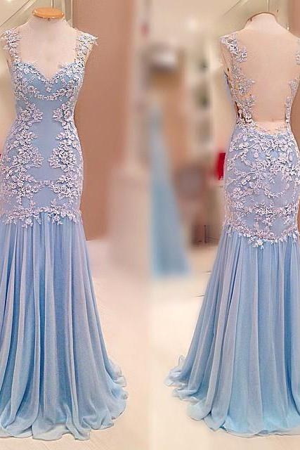 Prom Dresses,Evening Dress,Party Dresses,Charming Prom Dress,Chiffon Prom Dress with Appliques,Long Prom Dresses,Sexy Backless Prom Dress