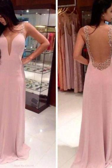 Prom Dresses,Evening Dress,Party Dresses,Pink Backless Prom Dresses,Open Back Prom Gowns, Pink Prom Dresses,Long Prom Gown,Open Backs Prom Dress,Sparkle Evening Gown,Sparkly Party Gown