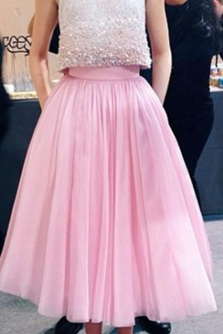 Prom Dresses,Evening Dress,Party Dresses,2 Piece Prom Gown,Two Piece Prom Dresses,Pink Evening Gowns,2 Pieces Party Dresses,Glitter Formal Dress,Sparkly Evening Gowns For Teens