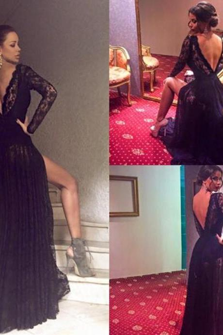 Prom Dresses,Evening Dress,Party Dresses,Black Prom Dress,Mermaid Prom Dress,Lace Prom Gown,Backless Prom Dresses,Sexy Evening Gowns,Evening Gown,Open Back Long Sleeves Dress For Teens