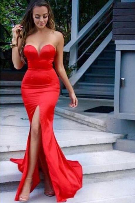 Custom Made Red Sweetheart Neckline Floor Length Mermaid Prom Dress with High Split