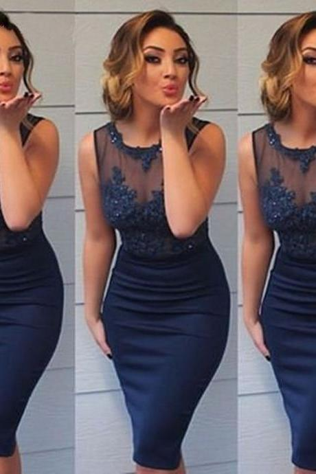 Prom Dresses,Evening Dress,Party Dresses,Modest 2017 Short Evening Dresses O- Neckline Lace Appliqued Long Navy Blue Sheer Back Custom Made Short Party Dress