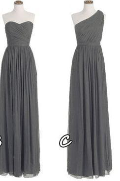 Prom Dresses,One Shoulder Bridesmaid Gown,Pretty Prom Dresses,Gray Prom Gown,Simple Bridesmaid Dress, Bridesmaid Dresses,Cheap Evening Dresses,Fall Wedding Gowns