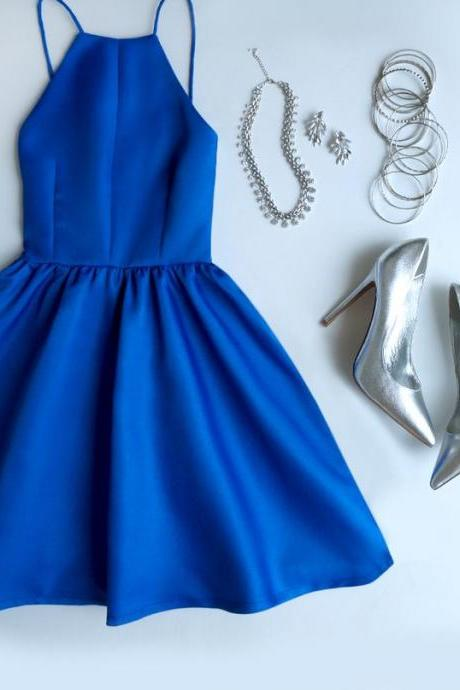 Royal Blue Halter Neck Short Skater Dress, Homecoming Dress