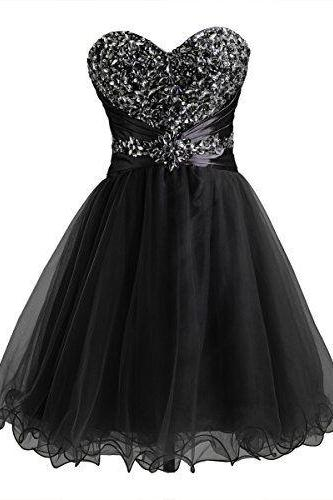 Black Short A-Line Tulle Homecoming Dress Featuring Beaded Sweetheart Bodice
