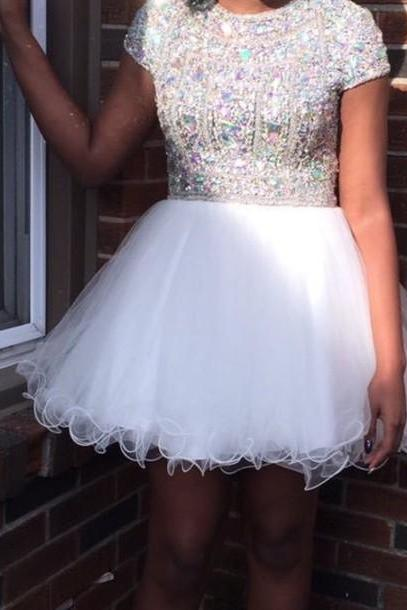 Homecoming Dresses,White Homecoming Dress,Sparkle Homecoming Dresses,New Style Homecoming Gowns,Fashion Prom Gowns,Classy Sweet 16 Dress,Silver Beading Homecoming Dresses,Organza Cocktail Dress,Evening Gowns