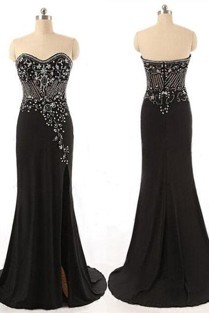 Black Floor Length Chiffon Trumpet Prom Dress Featuring Beaded Embellished Sweetheart Prom Dress