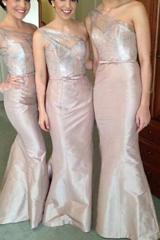 Custom Made Champagne Shimmery One-Shoulder Mermaid Evening Dress, Bridesmaid Dress, Prom Dresses, Cocktail Dress
