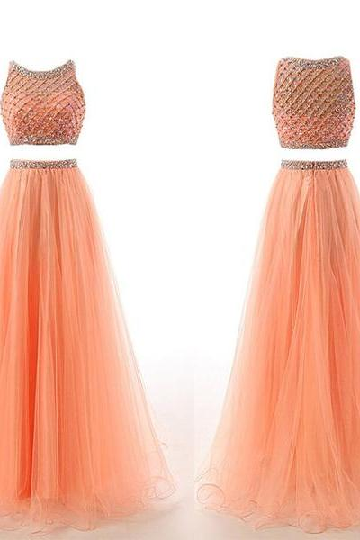 Coral Two-Piece Prom Dress Featuring Beaded Embellished Halter Neck Crop Bodice and Long Tulle A-Line Skirt