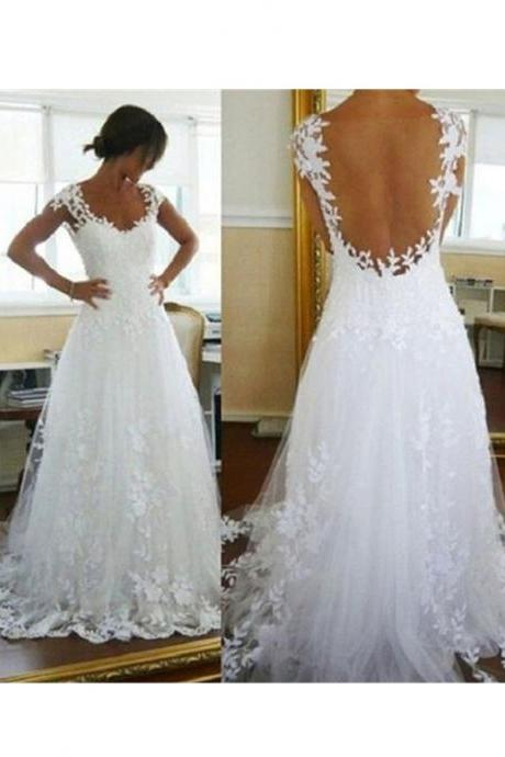 Prom Dresses,Evening Dress,Party Dresses,Elegant Backless Sweetheart Neck Cap Sleeves Lace Appliqued White Tulle Wedding Dresses
