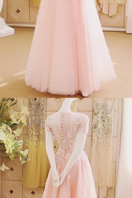 Prom Dresses,Evening Dress,Party Dresses,Prom Dresses,Pink Evening Gowns,Lace Formal Dresses,Prom Dresses,evening Gown,Beautiful Evening Dress,Pink Formal Dress,Lace Prom Gowns