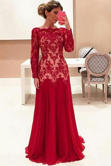 Prom Dresses,Evening Dress,Party Dresses,Prom Dresses,Long Prom Dresses,Long Sleeve Red Lace Evening Dresses 2017 Cheap High Quality Prom Gowns