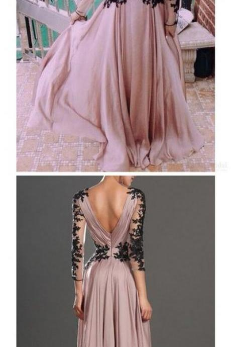 Prom Dresses,Evening Dress,Party Dresses,Blush Pink Prom Dresses,Vintage Prom Gown,Women Boho Long Sleeves Plus Size Evening Gowns,V neckline Party Dress,Black Lace Evening Dress