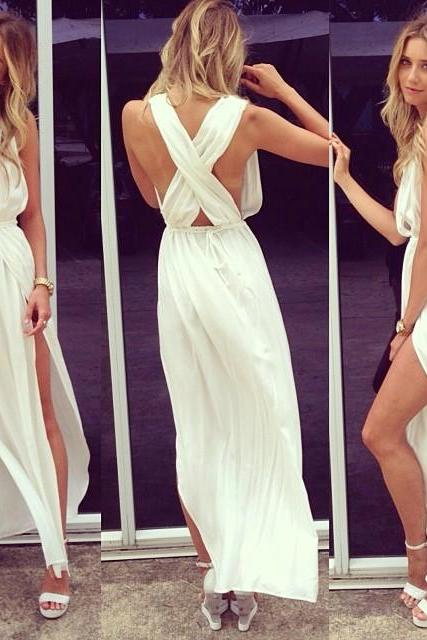 Prom Dresses,Evening Dress,Party Dresses,Sexy Prom Dresses Deep V Neck Sleeveless Chiffon Side Slit Ankle Length Sash White Cross Back Evening Gowns