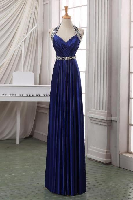 Prom Dresses,Evening Dress,Prom dress,Navy blue long prom dress,haler backless prom dress,long satin prom dress/evening dress/formal dress/wedding party dress wirth beading sash.