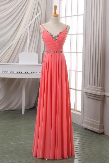 Prom Dresses,Evening Dress,Party Dresses,Coral V neck long chiffon evening dress/prom dress/party dress with beadings and spaghetti strap,long coral homecoming dress