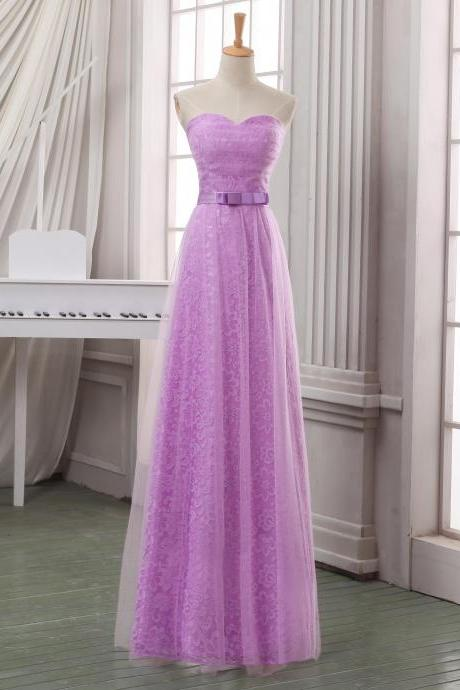Prom Dresses,Evening Dress,Party Dresses,Lilac long tulle homecoming dress with sash,handmade lace appliqued homecoming dress,strapless sweetheart homecoming dress/bridesmaid dress