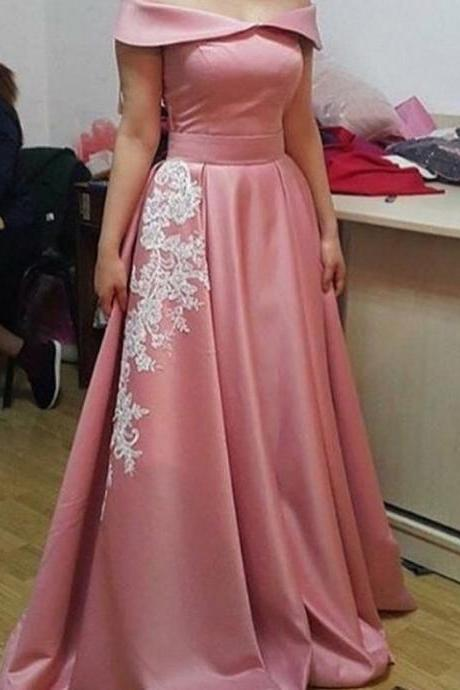 Prom Dresses,Evening Dress,Party Dresses,Elegant A-Line Off-the-Shoulder Sleeveless Appliques Long Prom Dress