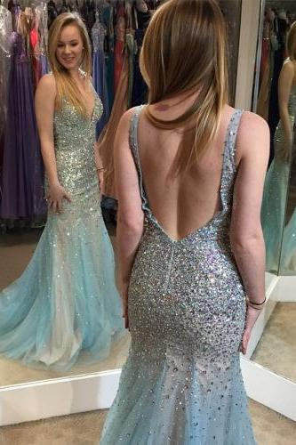Prom Dresses,Evening Dress,Party Dresses,Elegant deep V neck champagne and green tulle beaded mermaid long prom dress,formal evening dress