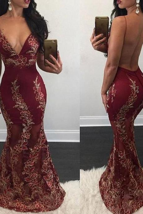 Prom Dresses,Evening Dress,Party Dresses,Mermaid Appliques Sweep-Train Sexy V-Neck Backless Prom Dress