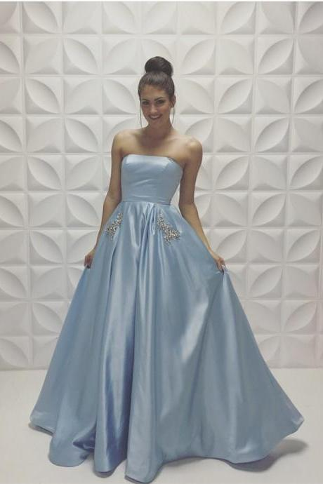 Prom Dresses,Evening Dress,Party Dresses,A-line Baby-Blue Sleeveless Strapless Beads Newest Prom Dress