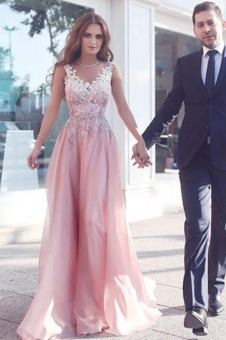 Prom Dresses,Evening Dress,Party Dresses,Appliques Pink Sleeveless A-Line Floor-Length Evening Gowns Prom Dress