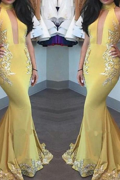 Prom Dresses,Evening Dress,Party Dresses,Yellow Mermaid Appliques Beautiful High-Neck Keyhole Evening Dress Evening Gown