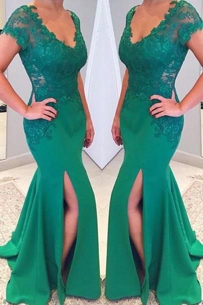 Prom Dresses,Evening Dress,Party Dresses,V-neckline Short Sleeves Mermaid Lace Applique Green Prom Dress, 2017 Prom Dress