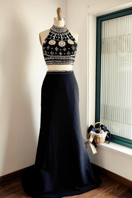 Prom Dresses,Evening Dress,Party Dresses,Black Satin Two-Piece Halter Beaded Bodice Long Prom Dress, Black Sweep Train Prom Gown Evening Dress With Open Back