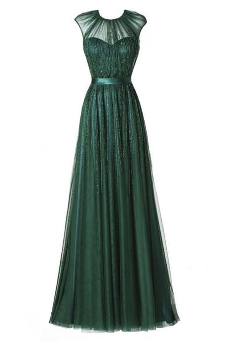 Prom Dresses,Evening Dress,Party Dresses,New Arrival Prom Dress,Glamorous Round Neck Floor-Length Pleated Dark Green Prom Dress with Beading
