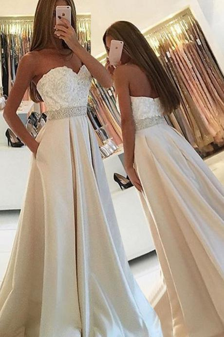 Prom Dresses,Evening Dress,Party Dresses,Simple Sweetheart Sleeveless Floor-Length Pockets Ivory Prom Dress with Lace Beading