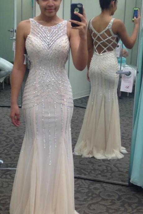 Prom Dresses,Evening Dress,Party Dresses,Beaded Sleeveless Mermaid Prom Dress, Formal Gown ,white Evening Dress Prom Gown Evening Dress With Open Back