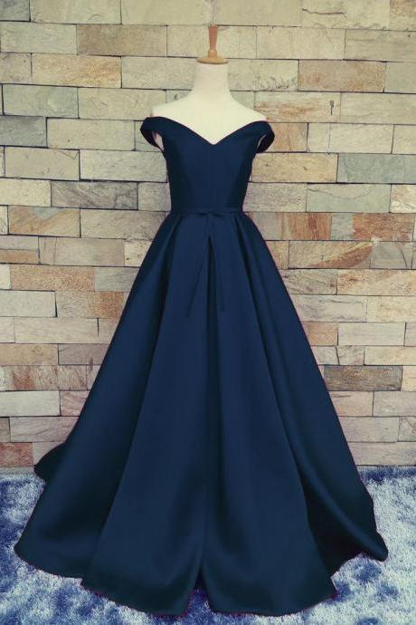 Prom Dresses,Evening Dress,Party Dresses,Charming Dark Navy Blue A Line Prom Dresses Satin Off The Shoulder Evening Gowns With Belt