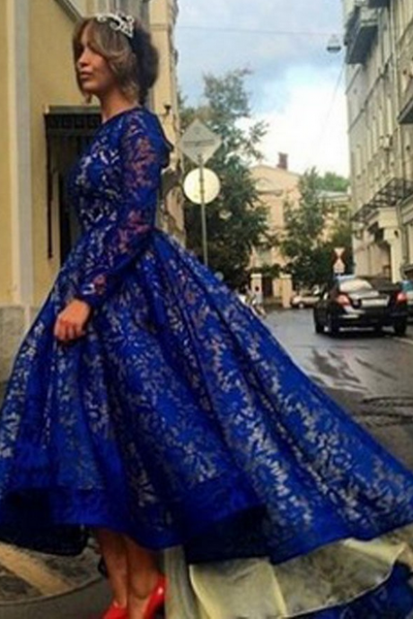 Prom Dresses,Evening Dress,Party Dresses,Royal Blue Ball Gown Long Evening Dresses Long Sleeves Lace Ankle Length Elegant 2017 Evening Gown Prom Dress