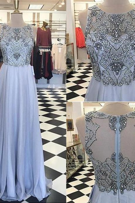 Prom Dresses,Evening Dress,Party Dresses, Elegant A-Line Lilac Prom Dress - Crew Floor-Length with Appliques Beading